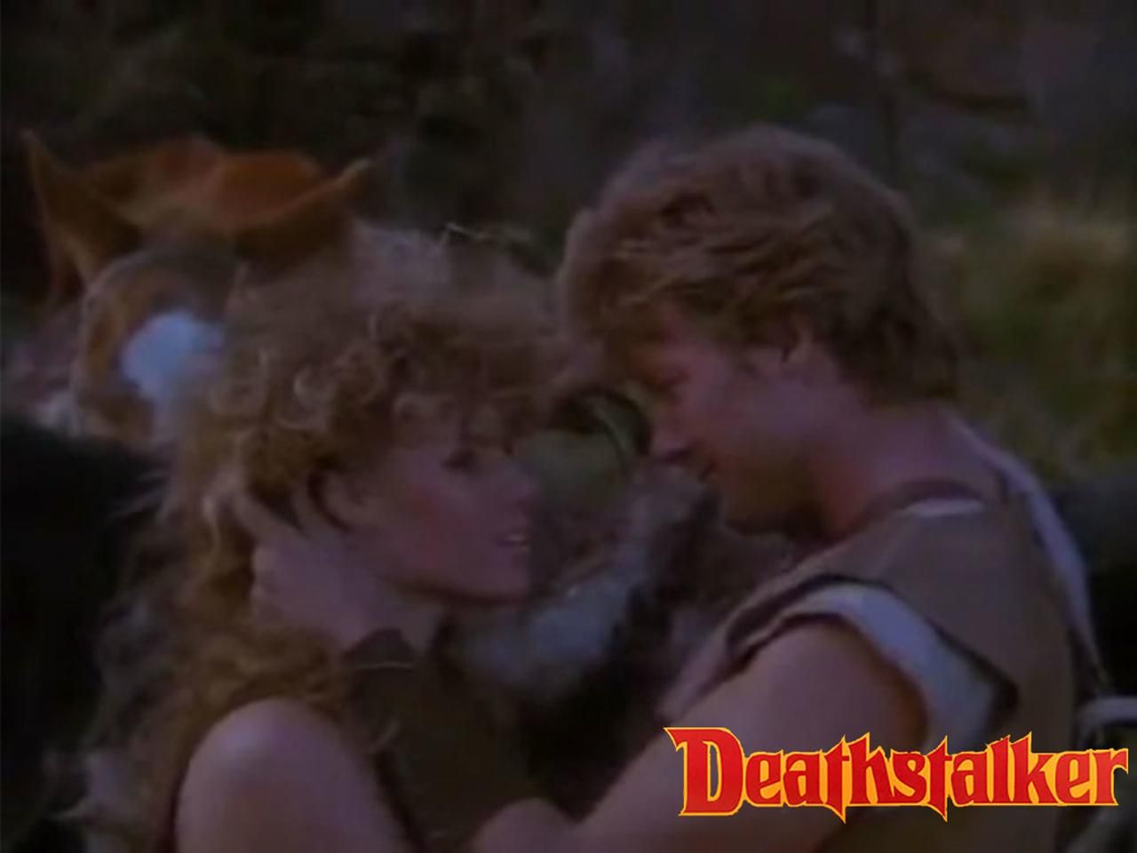 John Allen Nelson as the titular character Deathstalker and Claudia Inchaurregui as Marinda in Deathstalker III: The Warriors from Hell