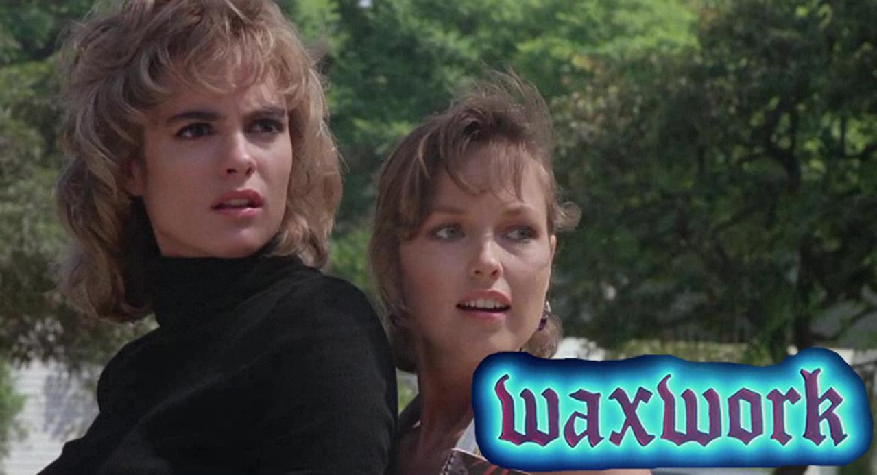 Michelle Johnson and Deborah Foreman in Waxwork (1988)