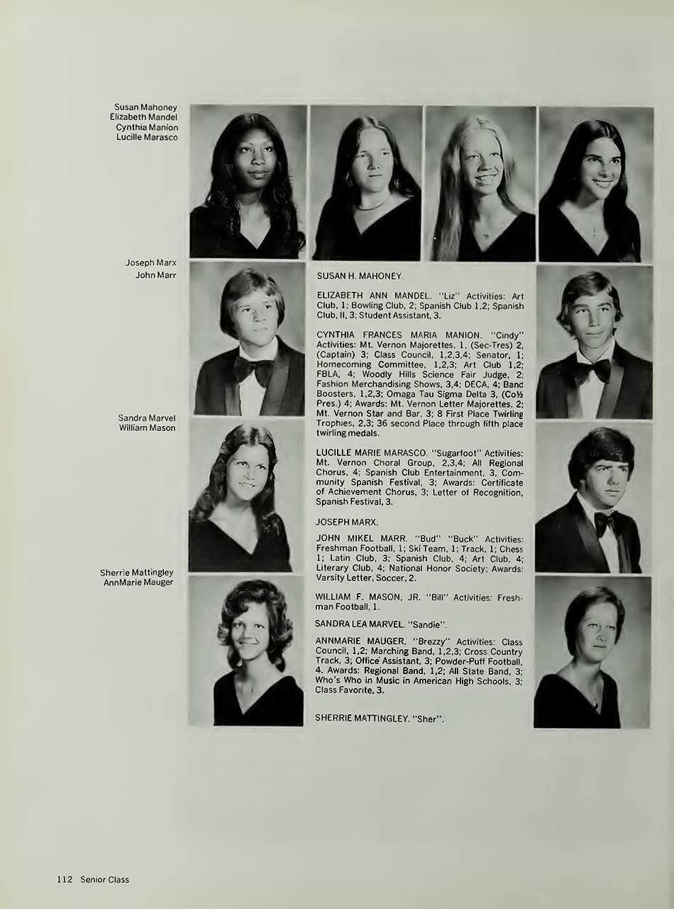 Cindy Manion in 1976 in her Mount Vernon,Texas high school yearbook