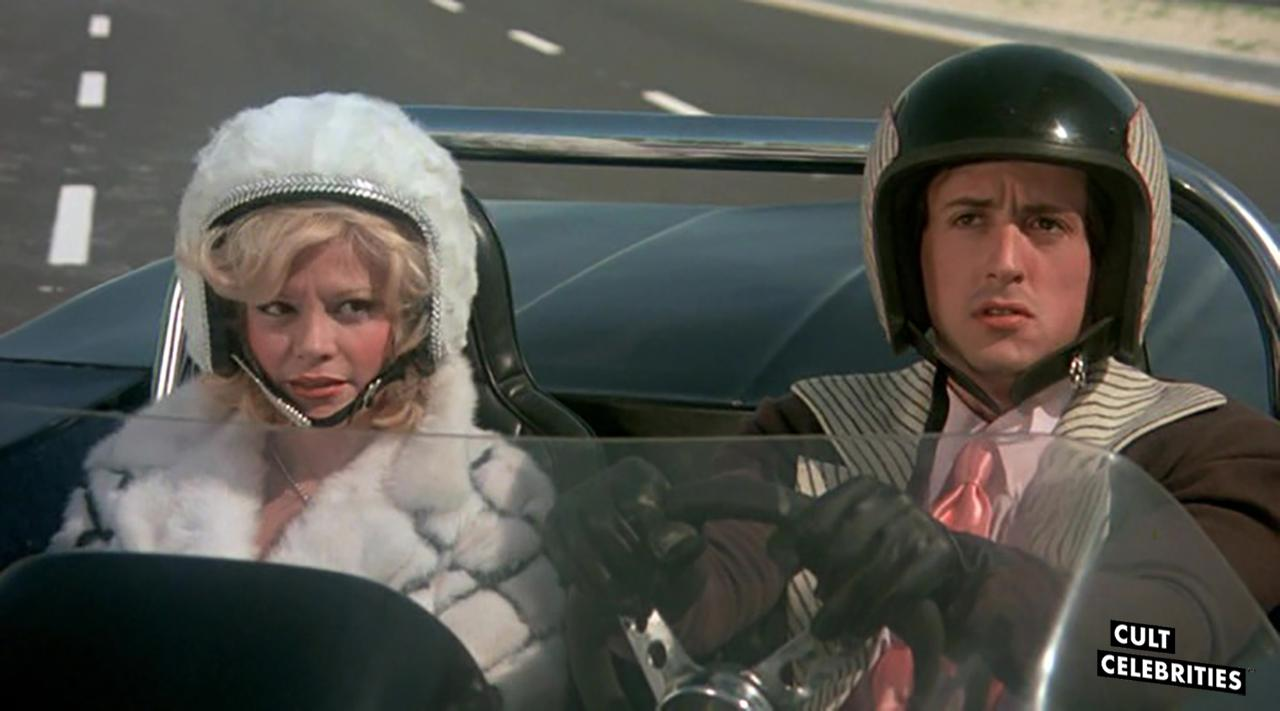Louisa Moritz and Sylvester Stallone in Death Race 2000 (1975)