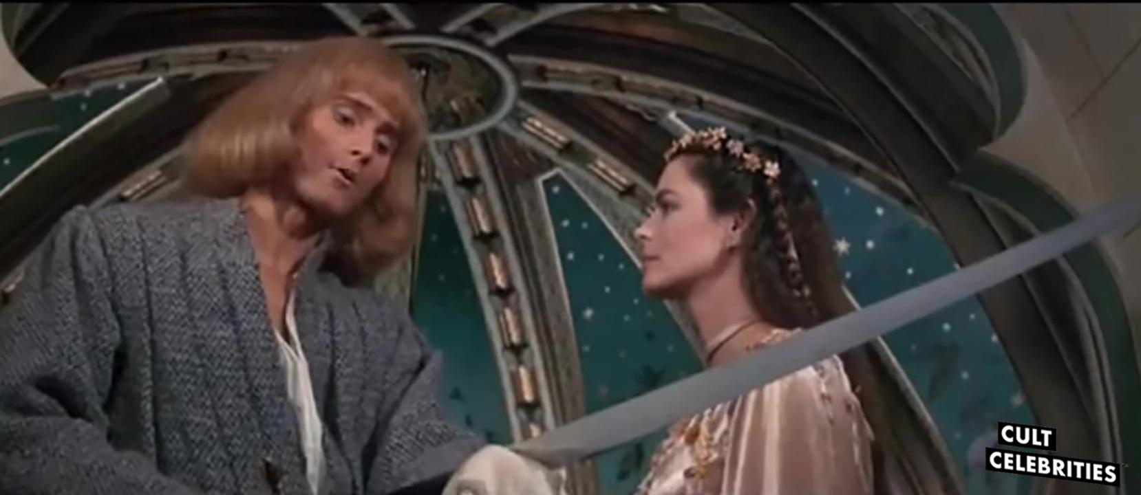 Cyrielle Clair and Miles O'Keeffe in Sword of the Valiant (1984)