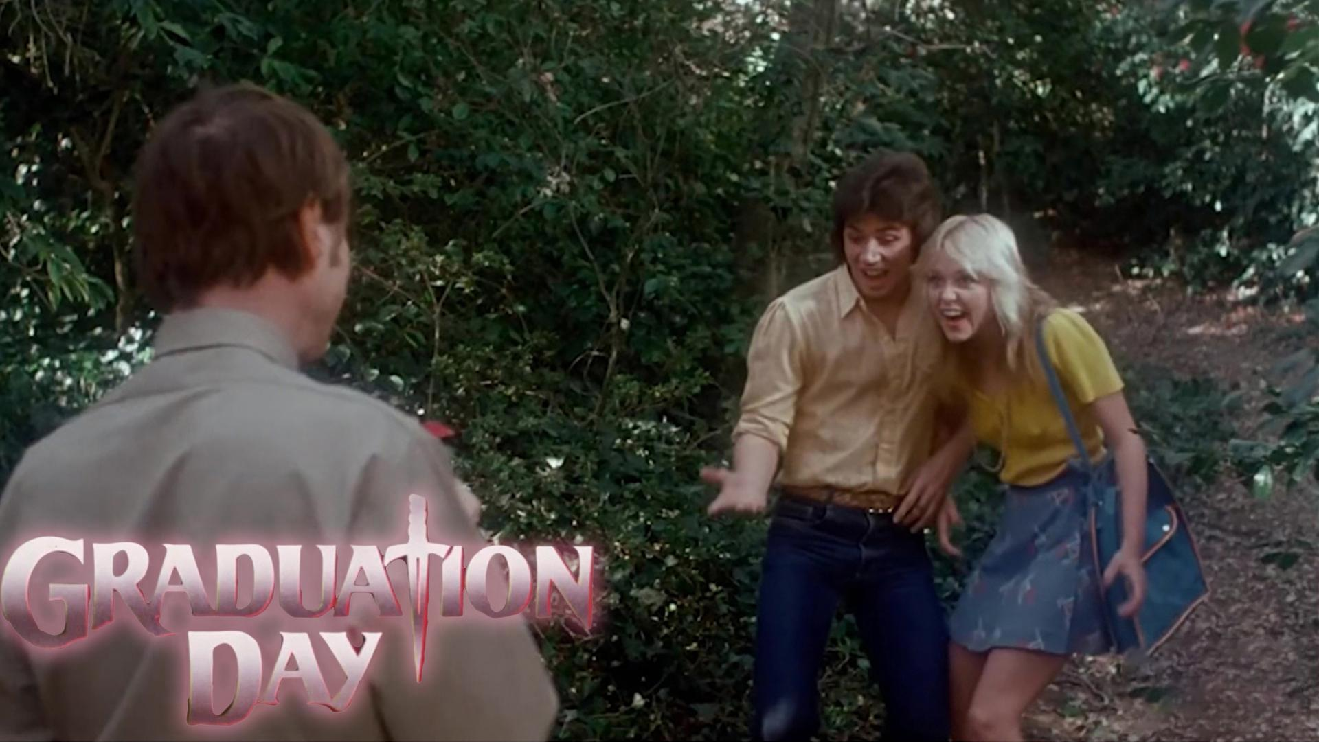 Linnea Quigley and Bill Hufsey in Graduation Day (1981)