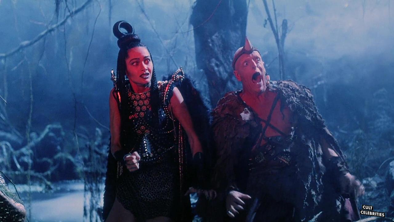 Sheeba Alahani and Michael Berryman in The Barbarians (1987)